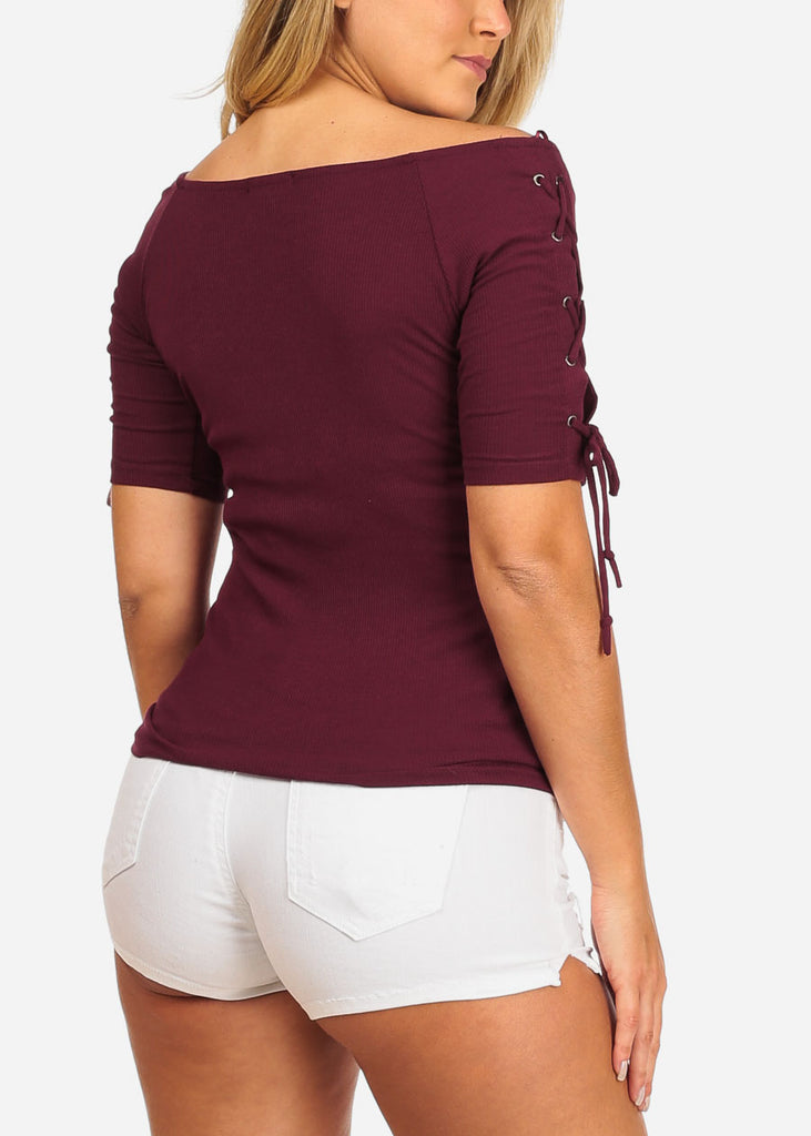 Me Sarcastic Print Lace Up Detail Short Sleeve Ribbed Burgundy Top