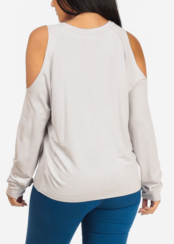 Ordinary Cold Shoulder Long Sleeve Round Neckline Light Grey Top