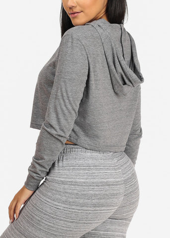With Love Cropped Grey Sweatshirt