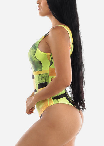 Image of Neon Yellow Printed Bodysuit