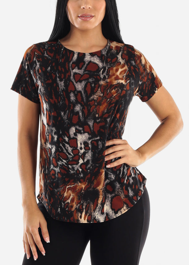 Brown Animal Print Dressy Top