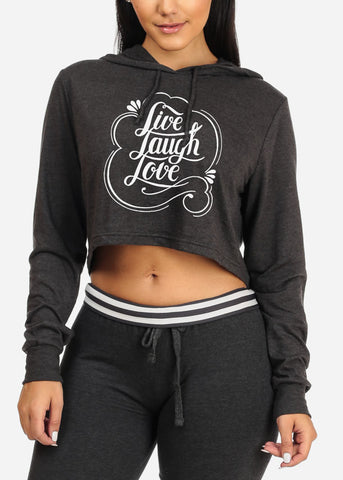 Live Laugh Love Cropped Charcoal Sweatshirt