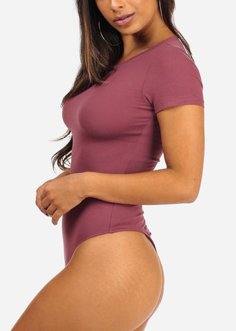 Casual Essential Round Neckline Short Sleeve Mauve Bodysuit