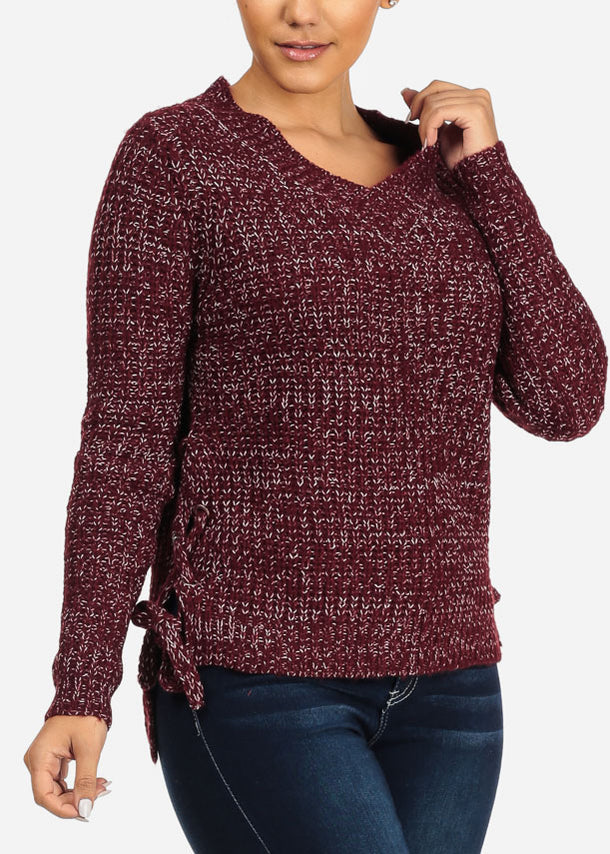 Burgundy Knitted Lace Up Sides Sweater
