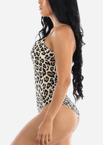 Image of Spaghetti Strap Animal Print Bodysuit
