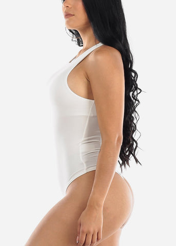 Image of Casual White Sleeveless Bodysuit