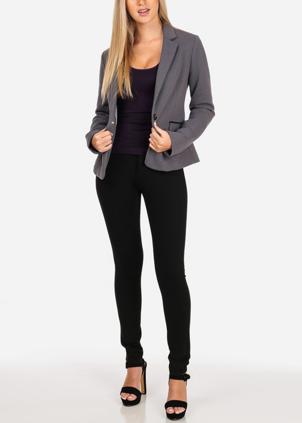 One Button Grey Blazer