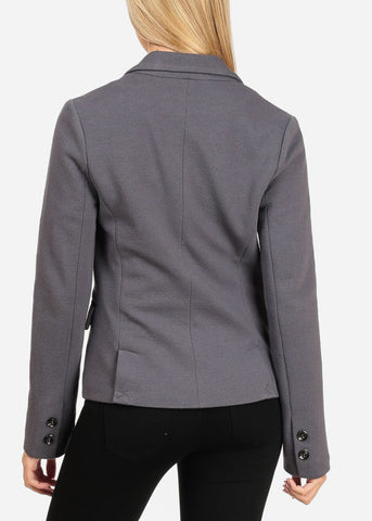 Women's Junior Long Sleeve Professional Office Career Wear One Button Solid Grey Blazer