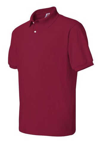 Men's Hanes Ecosmart 50/50 Jersey Sport Shirt Red Polo