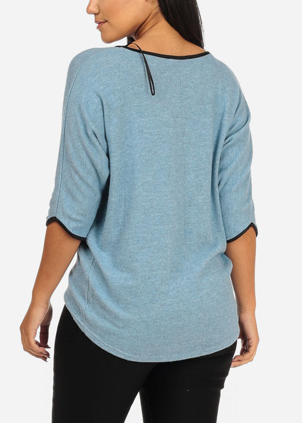 Asymmetrical Hem Light Blue Top