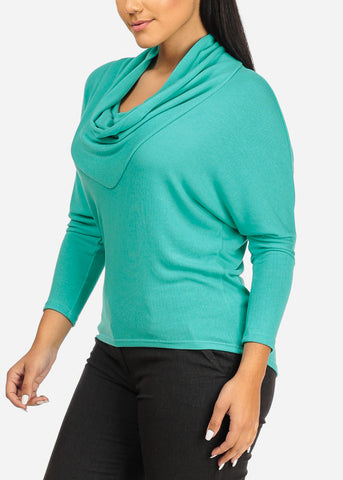 Cowl Neckline Mint Stretchy Top