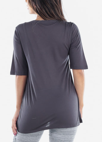 Cute Basic Essential Short Sleeve Dark Grey Oversized Tshirt Top