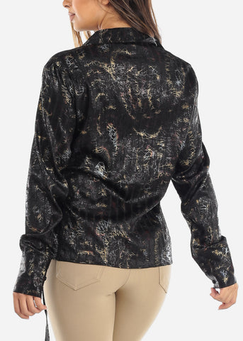 Image of Black Wrap Front Crinkled Blouse