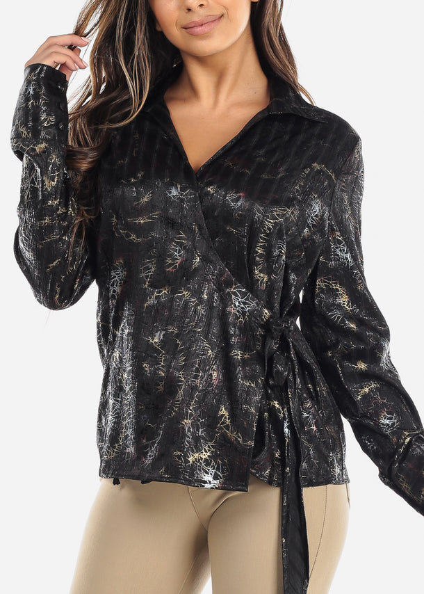 Black Wrap Front Crinkled Blouse