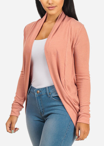 Image of Classic Mauve Cardigan with rounded Hem