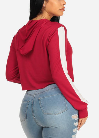 Casual Red Hooded Sweatshirt
