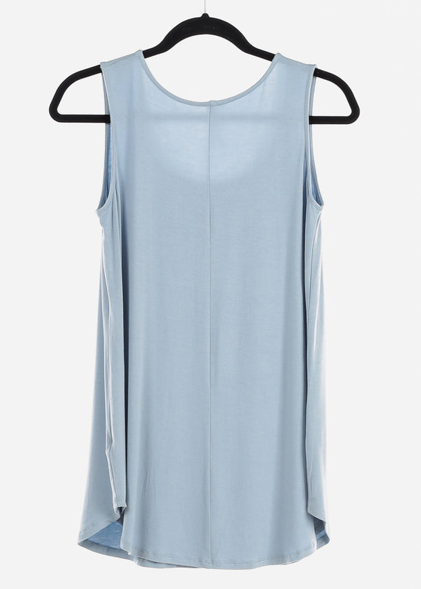 Light Blue Graphic Tank Top