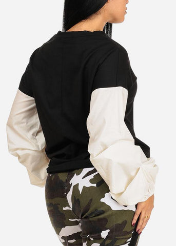 Image of Two-Tone Black And White Pullover Top