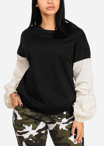 Image of Two Tone Black And White Round Neckline Long Sleeve Pullover Top