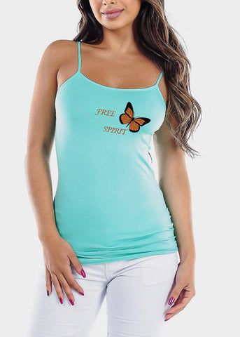 "Aqua One Size Graphic Top ""Free Spirit"""