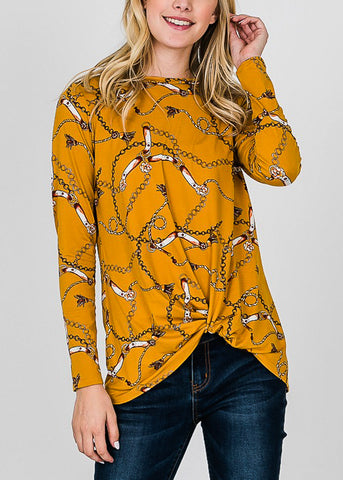 Printed Long Sleeve Mustard Shirt