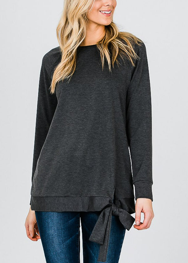 Oversized Charcoal Pullover Top