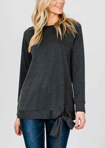 Image of Oversized Charcoal Pullover Top