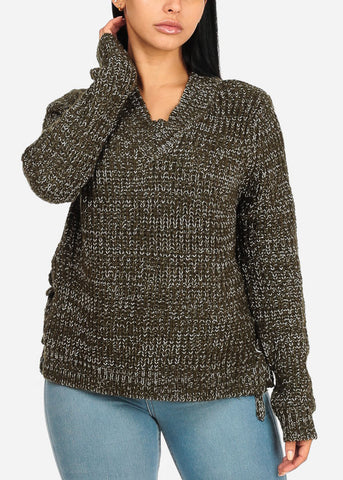 Image of Olive Lace Up Sides Sweater