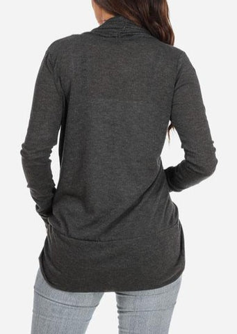Image of Classic Gray Cardigan with rounded Hem
