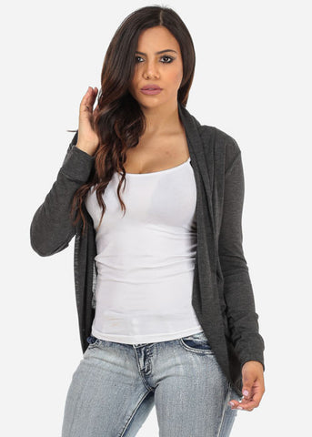 Classic Gray Cardigan with rounded Hem