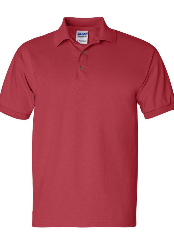Men's Gildan Ultra 100% Heavy Cotton Red Jersey Sport Shirt Polo