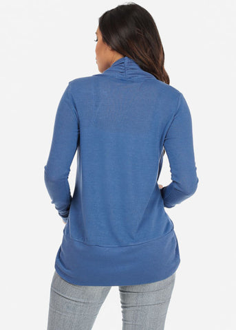 Image of Classic Cardigan with rounded Hem (Blue)