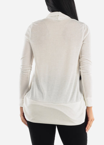 Image of Classic White Cardigan with rounded Hem