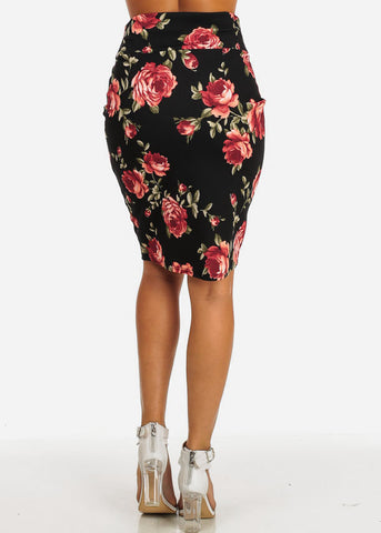 Classic Floral Pencil Midi Skirt