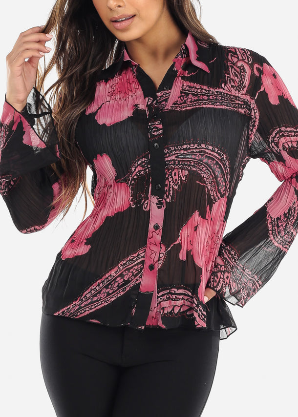 Sheer Black & Pink Pleated Blouse