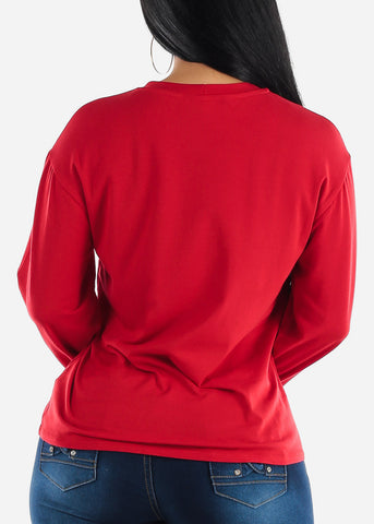 "Red Long Sleeve Graphic Top ""Golden Lips"""