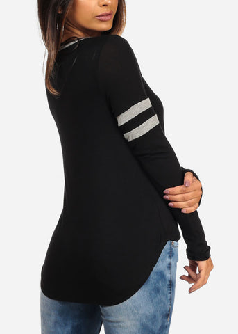Why Not Graphic Stripe Trim Long Sleeve Casual Stretchy Black Top