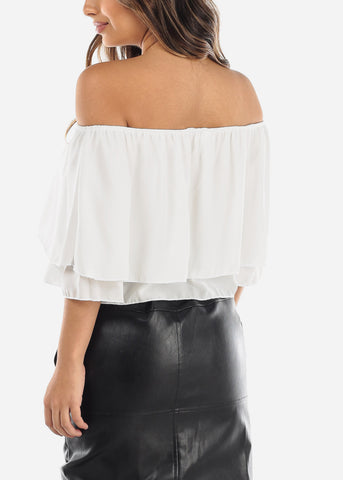 Image of White Off Shoulder Ruffled Crop Top