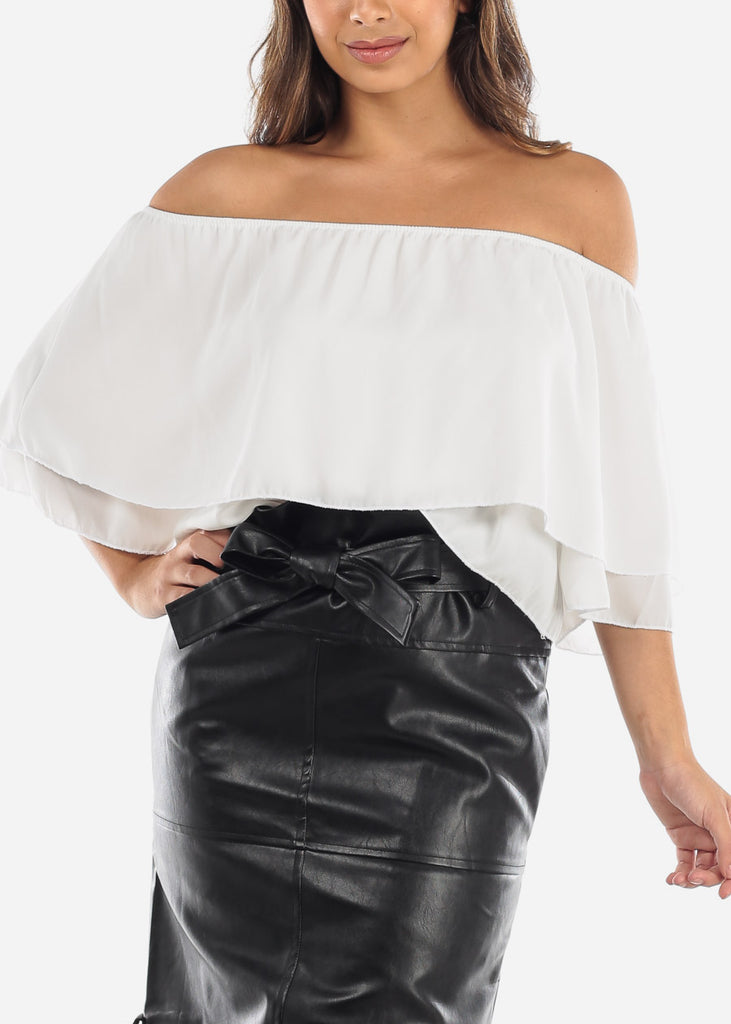 White Off Shoulder Ruffled Crop Top