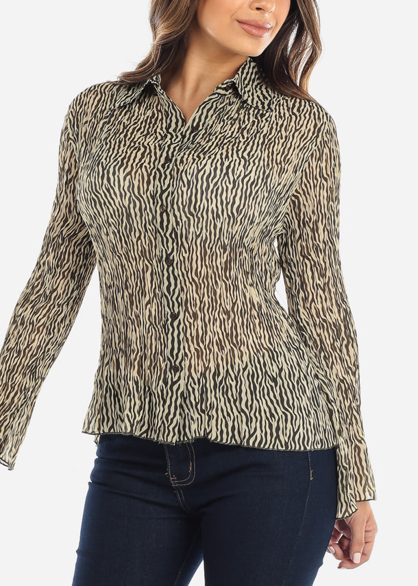 Animal Print Button Down Blouse