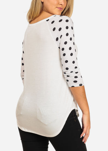 Women's Junior Ladies Teens Girl Stylish White Polka Dot Wrangler Sleeve Top