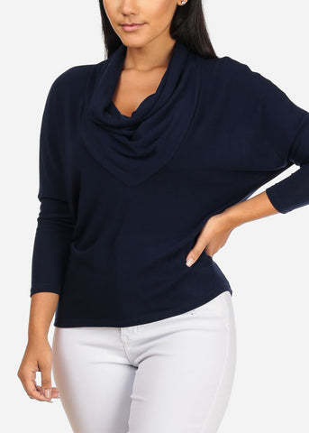 Cowl Neckline Navy Stretchy Top