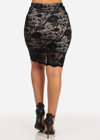 High Rise Floral Lace Skirt (Black)