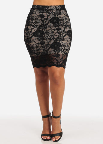 Image of High Rise Floral Lace Skirt (Black)