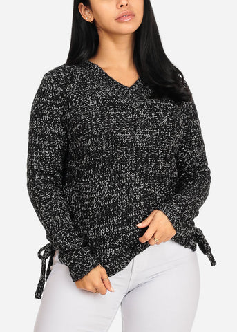 Discount Black Lace Up Sides Sweater