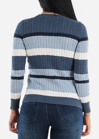 Blue Striped Stretchy Fitted Sweater