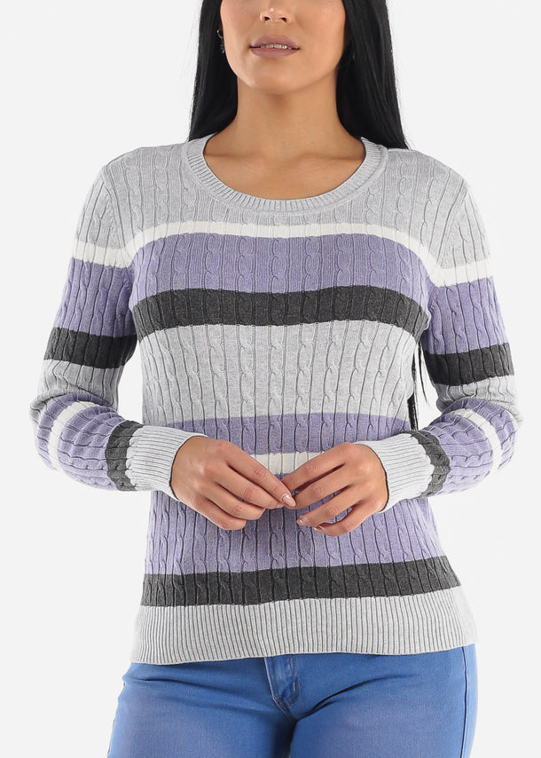 Grey Striped Rib Knit Sweater