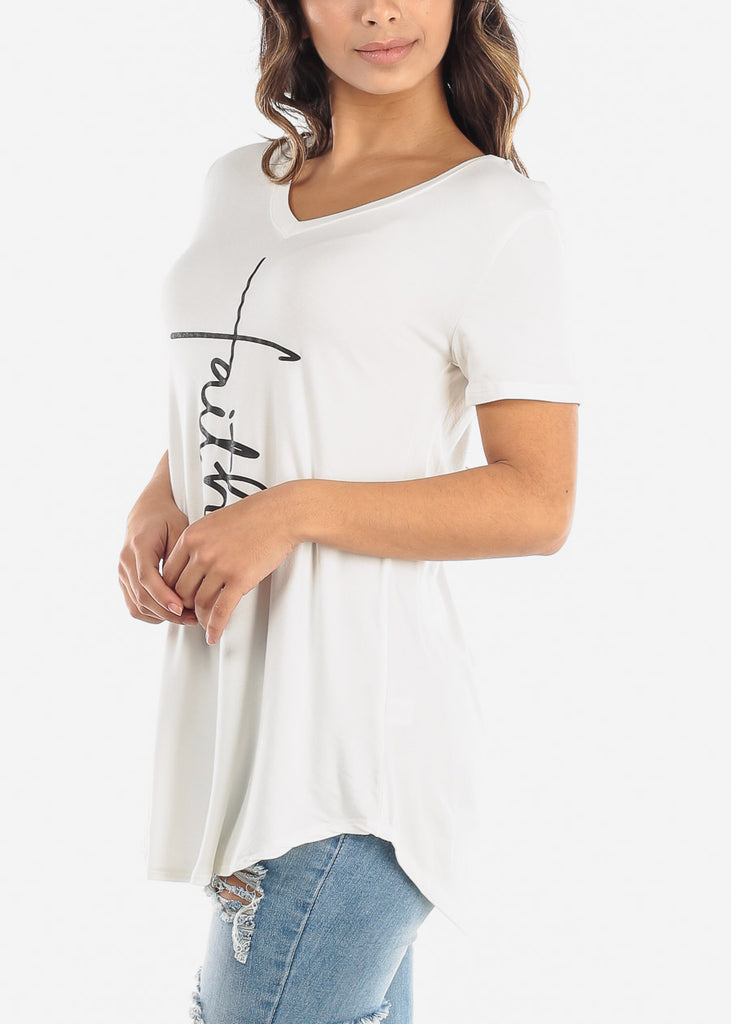 "Ivory Graphic Top ""Faith"""