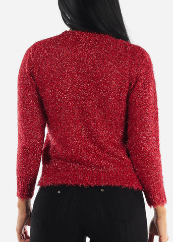 Image of Classy Fuzzy Red Glitter Sweater
