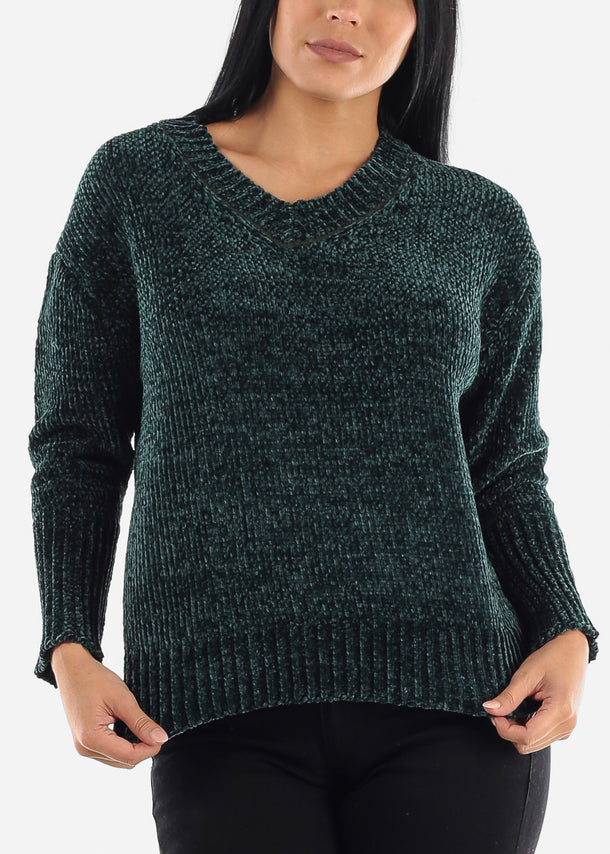 Teal Chenille Knitted Sweater